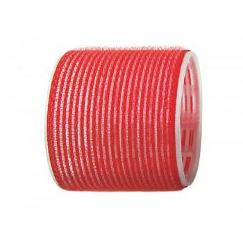 Бигуди на липучке, 70 мм, красные, 6 штук